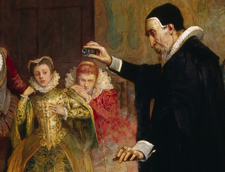 A painting of John Dee at the court of Elizabeth I